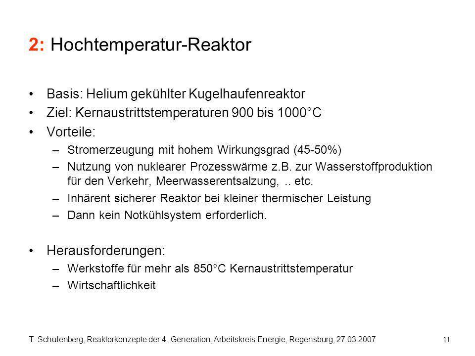 11 T. Schulenberg, Reaktorkonzepte der 4. Generation, Arbeitskreis Energie, Regensburg, 27.03.2007 2: Hochtemperatur-Reaktor Basis: Helium gekühlter K