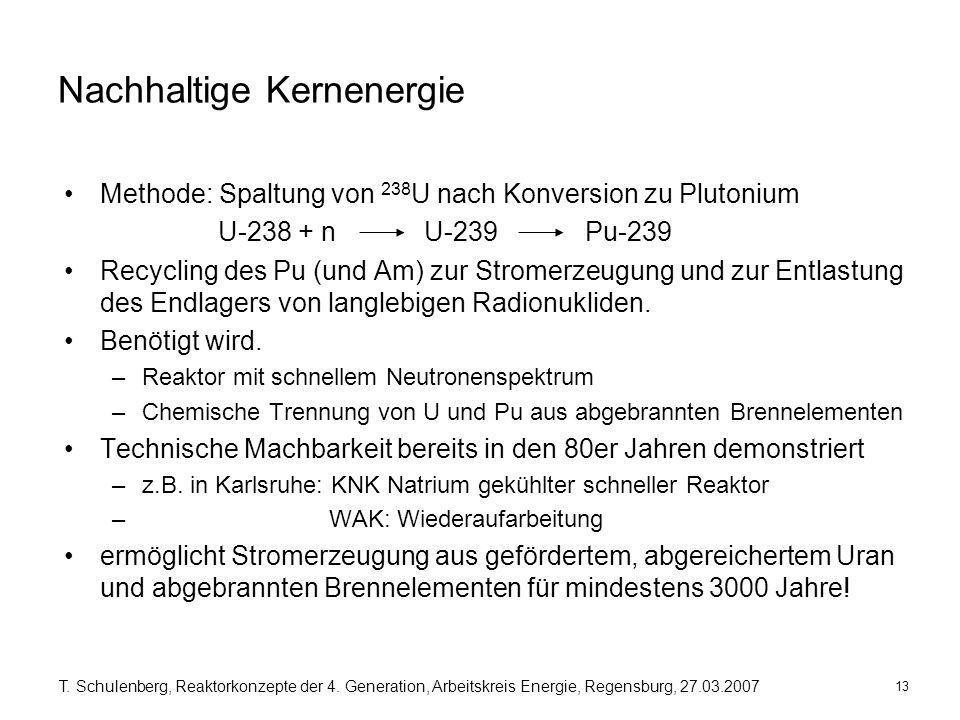 13 T. Schulenberg, Reaktorkonzepte der 4. Generation, Arbeitskreis Energie, Regensburg, 27.03.2007 Nachhaltige Kernenergie Methode: Spaltung von 238 U