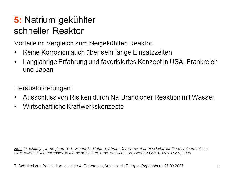 19 T. Schulenberg, Reaktorkonzepte der 4. Generation, Arbeitskreis Energie, Regensburg, 27.03.2007 5: Natrium gekühlter schneller Reaktor Vorteile im