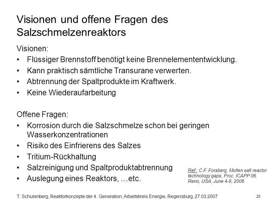 20 T. Schulenberg, Reaktorkonzepte der 4. Generation, Arbeitskreis Energie, Regensburg, 27.03.2007 Visionen und offene Fragen des Salzschmelzenreaktor