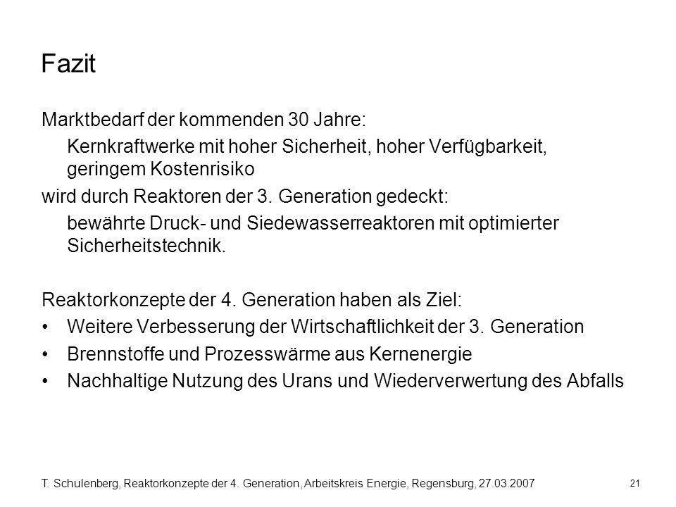21 T. Schulenberg, Reaktorkonzepte der 4. Generation, Arbeitskreis Energie, Regensburg, 27.03.2007 Fazit Marktbedarf der kommenden 30 Jahre: Kernkraft