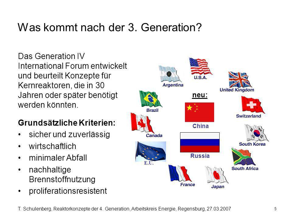 5 T. Schulenberg, Reaktorkonzepte der 4. Generation, Arbeitskreis Energie, Regensburg, 27.03.2007 Was kommt nach der 3. Generation? Grundsätzliche Kri