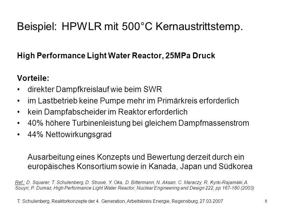 8 T. Schulenberg, Reaktorkonzepte der 4. Generation, Arbeitskreis Energie, Regensburg, 27.03.2007 Beispiel: HPWLR mit 500°C Kernaustrittstemp. High Pe