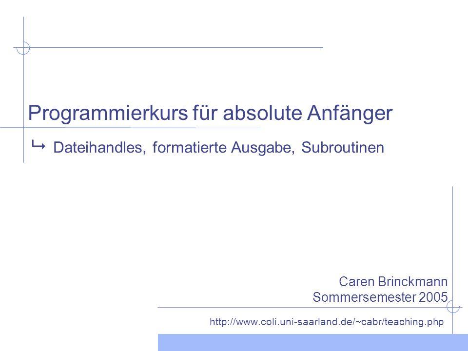 Programmierkurs für absolute Anfänger http://www.coli.uni-saarland.de/~cabr/teaching.php Dateihandles, formatierte Ausgabe, Subroutinen Caren Brinckmann Sommersemester 2005