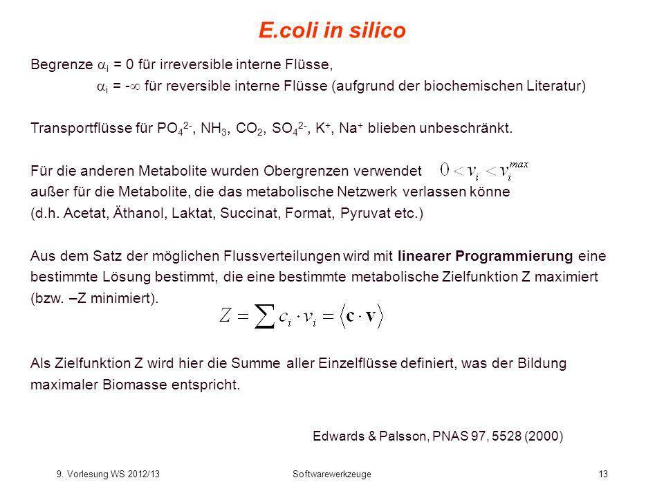 9. Vorlesung WS 2012/13Softwarewerkzeuge13 E.coli in silico Edwards & Palsson, PNAS 97, 5528 (2000) Begrenze i = 0 für irreversible interne Flüsse, i