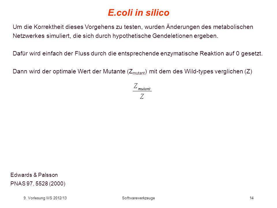 9. Vorlesung WS 2012/13Softwarewerkzeuge14 E.coli in silico Edwards & Palsson PNAS 97, 5528 (2000) Um die Korrektheit dieses Vorgehens zu testen, wurd