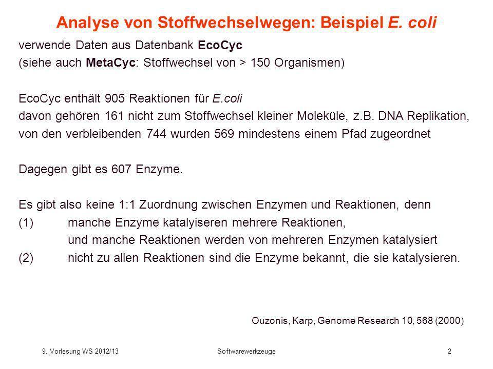 9. Vorlesung WS 2012/13Softwarewerkzeuge2 Analyse von Stoffwechselwegen: Beispiel E. coli verwende Daten aus Datenbank EcoCyc (siehe auch MetaCyc: Sto