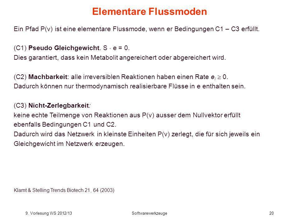 9. Vorlesung WS 2012/13Softwarewerkzeuge20 Elementare Flussmoden Ein Pfad P(v) ist eine elementare Flussmode, wenn er Bedingungen C1 – C3 erfüllt. (C1