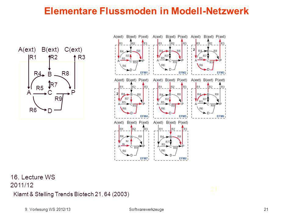 9. Vorlesung WS 2012/13Softwarewerkzeuge21 Bioinformatics III 21 Elementare Flussmoden in Modell-Netzwerk Klamt & Stelling Trends Biotech 21, 64 (2003