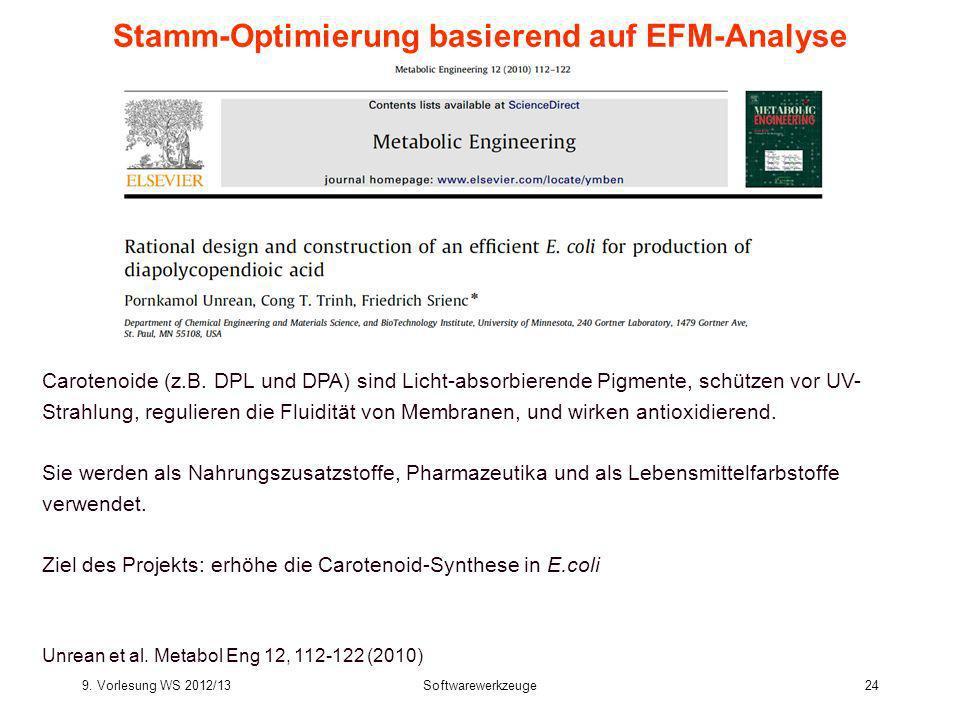 9. Vorlesung WS 2012/13Softwarewerkzeuge24 Stamm-Optimierung basierend auf EFM-Analyse Carotenoide (z.B. DPL und DPA) sind Licht-absorbierende Pigment