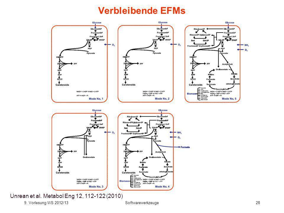 9. Vorlesung WS 2012/13Softwarewerkzeuge28 Bioinformatics III 28 Verbleibende EFMs Unrean et al. Metabol Eng 12, 112-122 (2010)