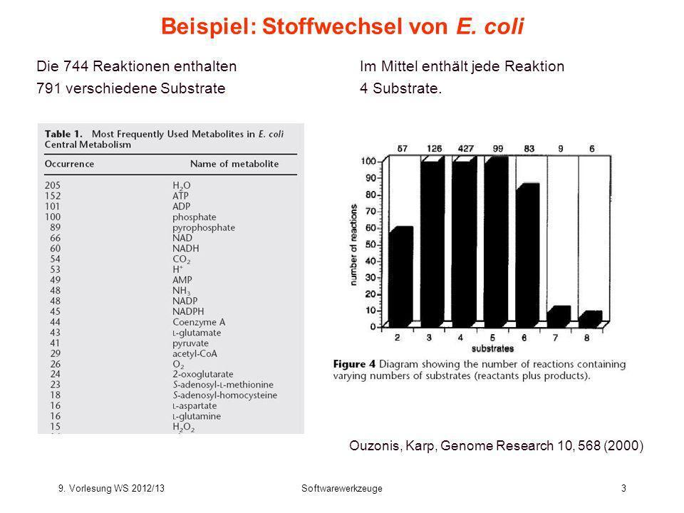 9.Vorlesung WS 2012/13Softwarewerkzeuge4 Beispiel: Stoffwechsel von E.