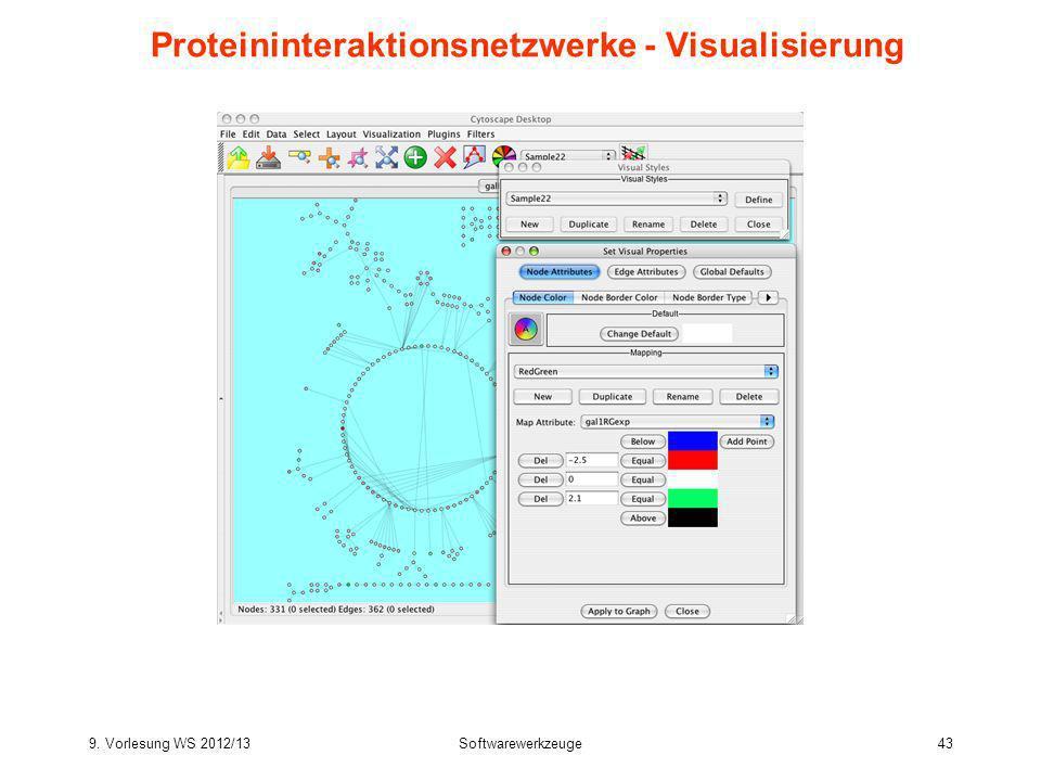9. Vorlesung WS 2012/13Softwarewerkzeuge43 Proteininteraktionsnetzwerke - Visualisierung