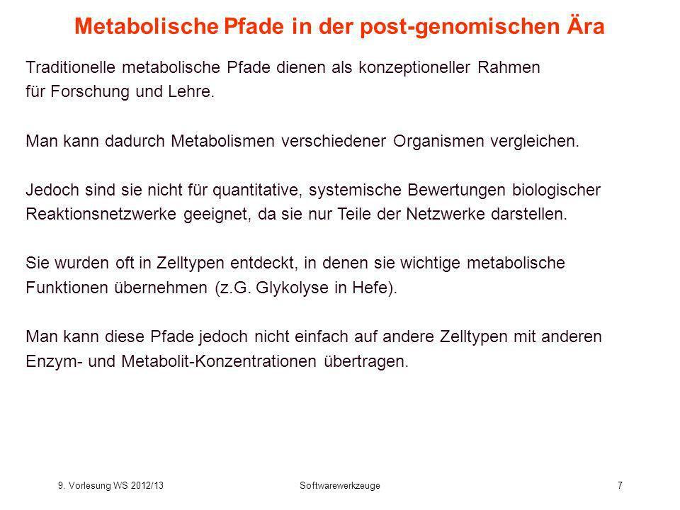 9. Vorlesung WS 2012/13Softwarewerkzeuge7 Metabolische Pfade in der post-genomischen Ära Traditionelle metabolische Pfade dienen als konzeptioneller R