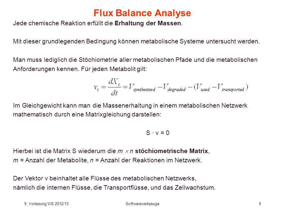9. Vorlesung WS 2012/13Softwarewerkzeuge9 Flux Balance Analyse Jede chemische Reaktion erfüllt die Erhaltung der Massen. Mit dieser grundlegenden Bedi