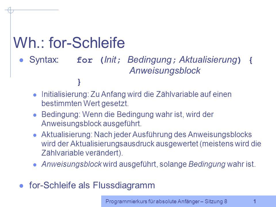 Programmierkurs für absolute Anfänger http://www.coli.uni-saarland.de/~cabr/teaching.php Listen und Arrays Caren Brinckmann Sommersemester 2005