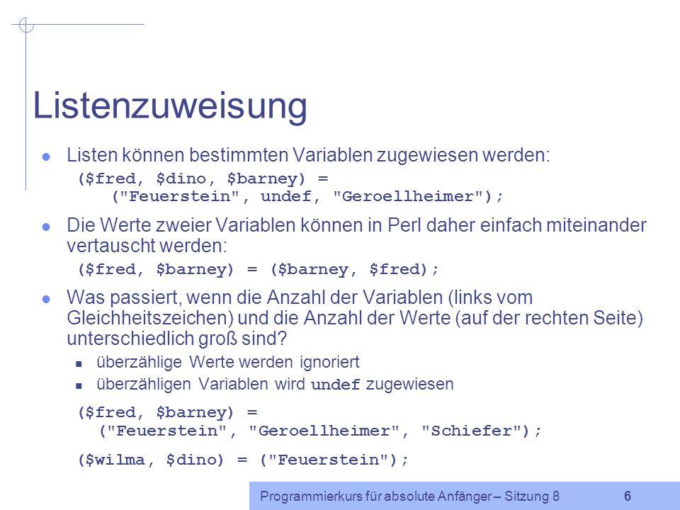 Programmierkurs für absolute Anfänger – Sitzung 8 5 Bereichsoperator..