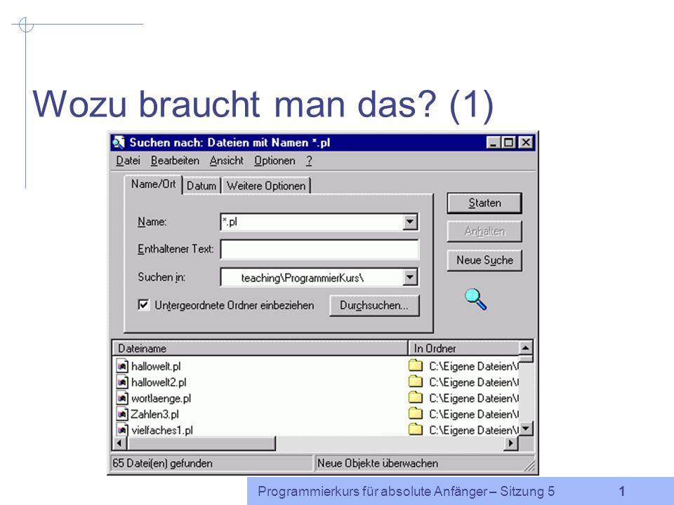 Programmierkurs für absolute Anfänger http://www.coli.uni-saarland.de/~cabr/teaching.php Reguläre Ausdrücke / regular expressions Caren Brinckmann Sommersemester 2005