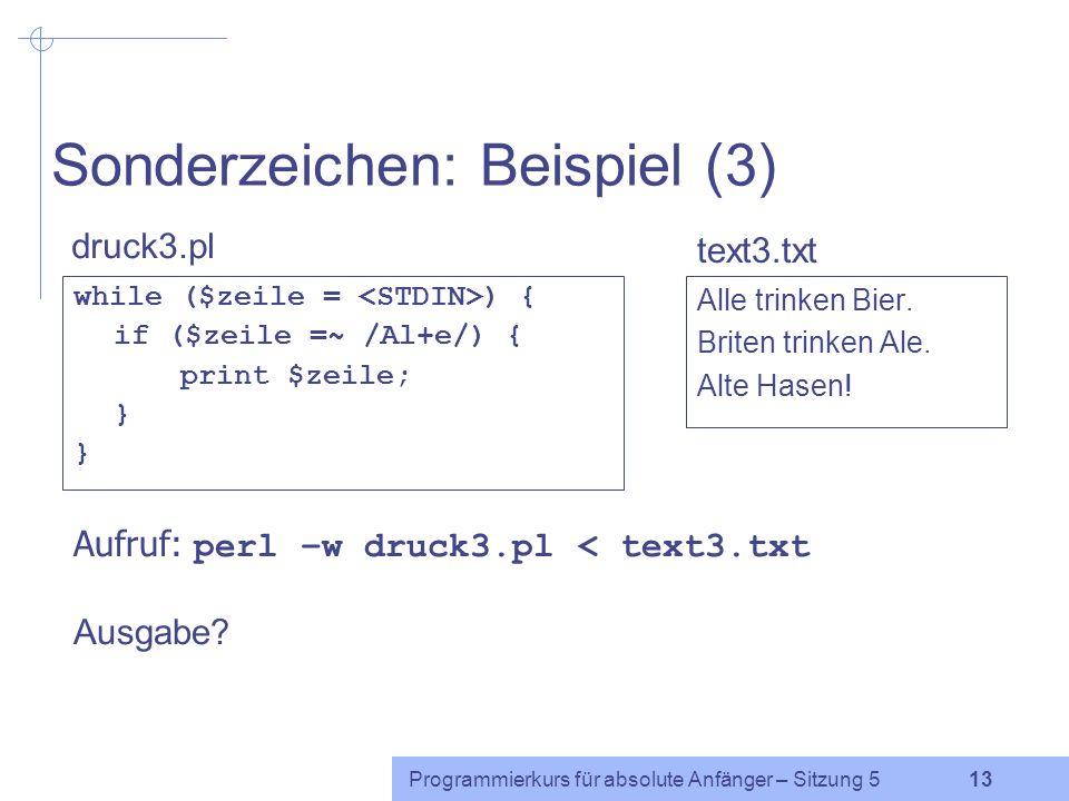 Programmierkurs für absolute Anfänger – Sitzung 5 12 Sonderzeichen: Wiederholungen .