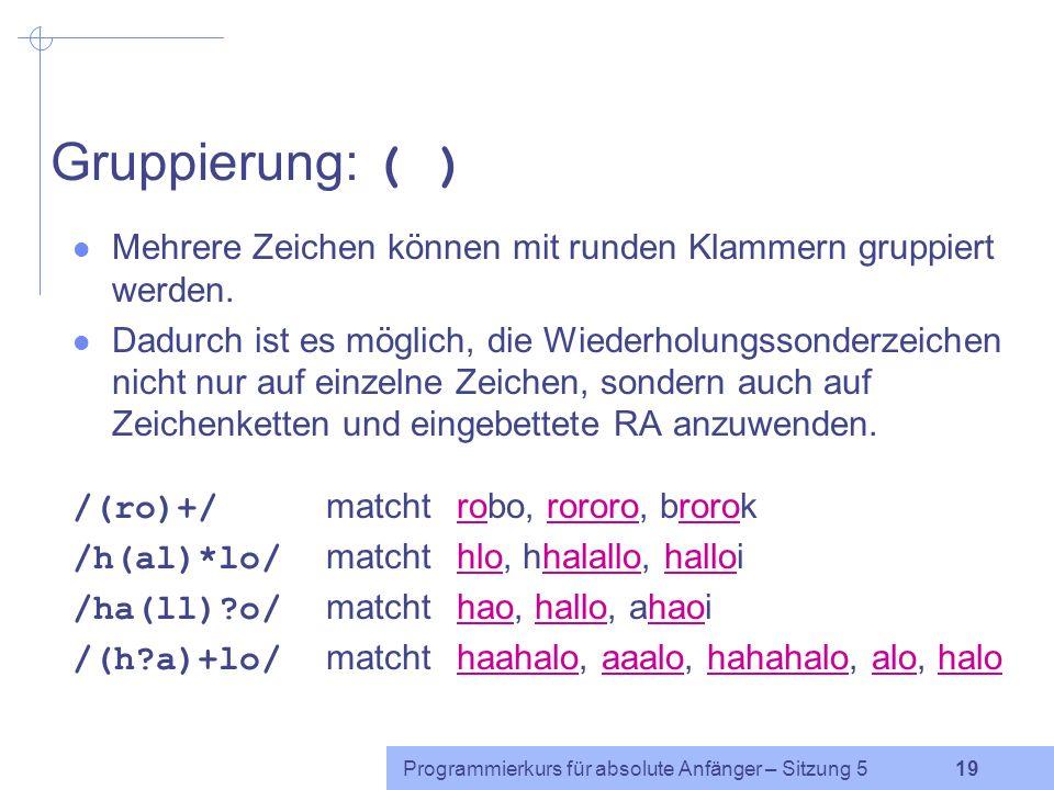 Programmierkurs für absolute Anfänger – Sitzung 5 18 Übung 1)abc2)ac3)abbb 4)bbc5)aabcd6)b Welche Zeichenketten(teile) werden jeweils gematcht.