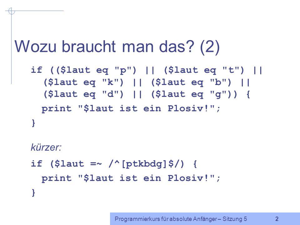 Programmierkurs für absolute Anfänger – Sitzung 5 2 Wozu braucht man das.