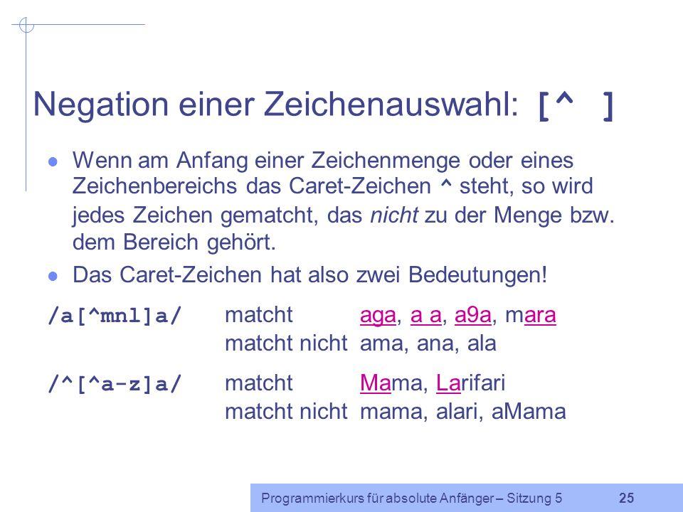 Programmierkurs für absolute Anfänger – Sitzung 5 24 Übung Welche der folgenden Zeichenketten wird von /^[A-Za-z ]+[\.\?!]$/ gematcht.