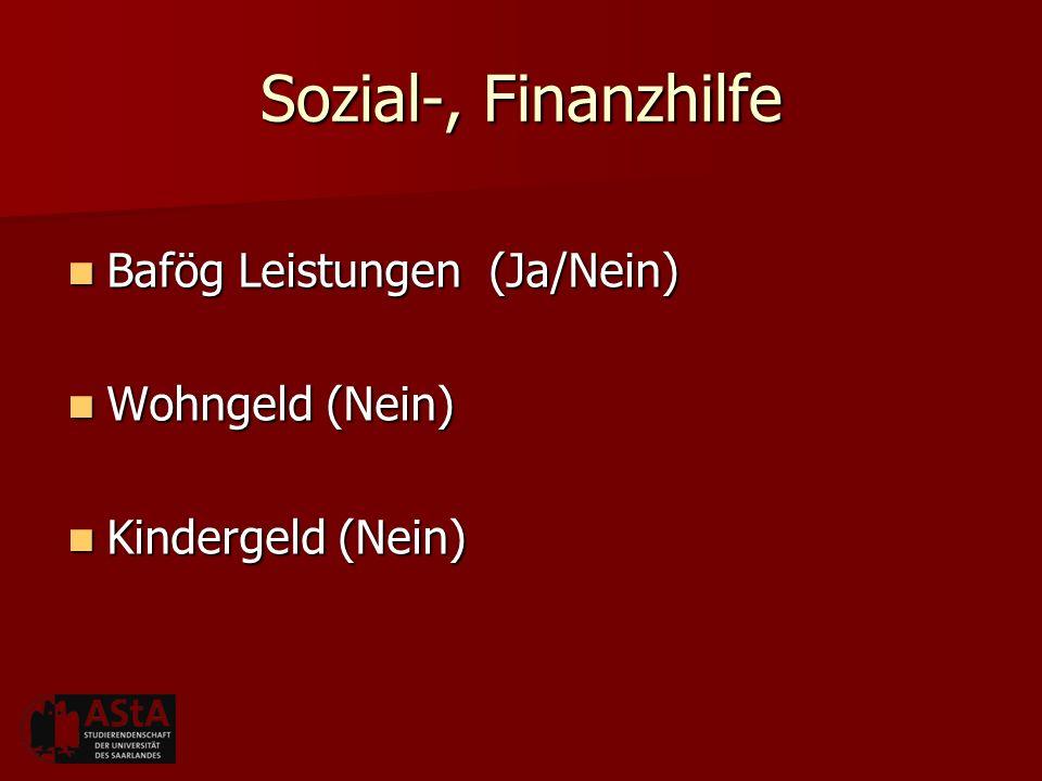 Sozial-, Finanzhilfe Bafög Leistungen (Ja/Nein) Bafög Leistungen (Ja/Nein) Wohngeld (Nein) Wohngeld (Nein) Kindergeld (Nein) Kindergeld (Nein)