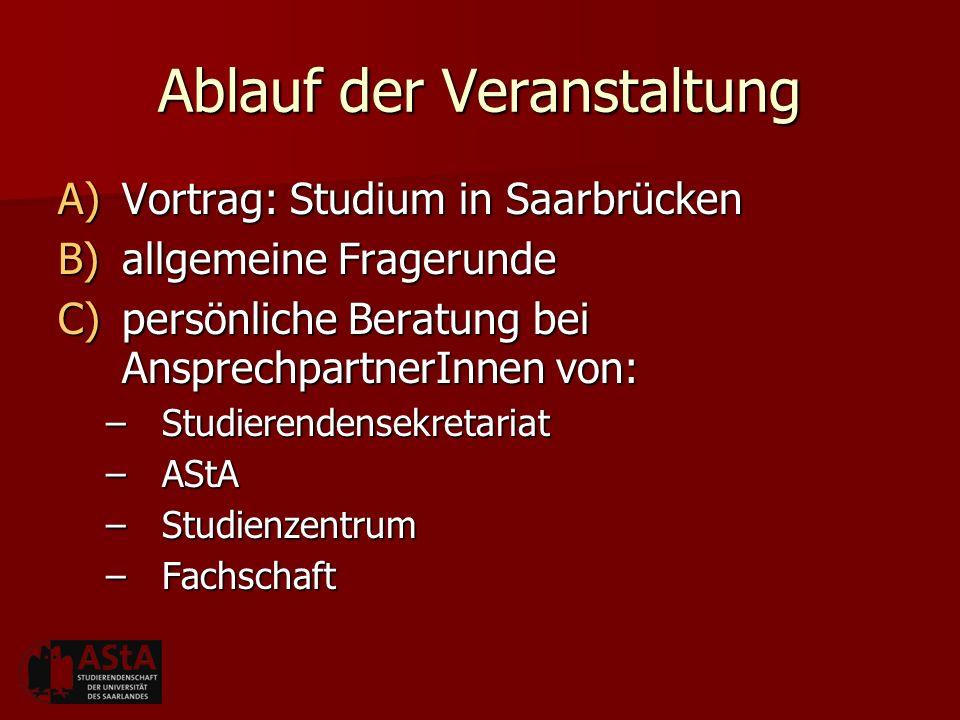 Ablauf der Veranstaltung A)Vortrag: Studium in Saarbrücken B)allgemeine Fragerunde C)persönliche Beratung bei AnsprechpartnerInnen von: –Studierendens