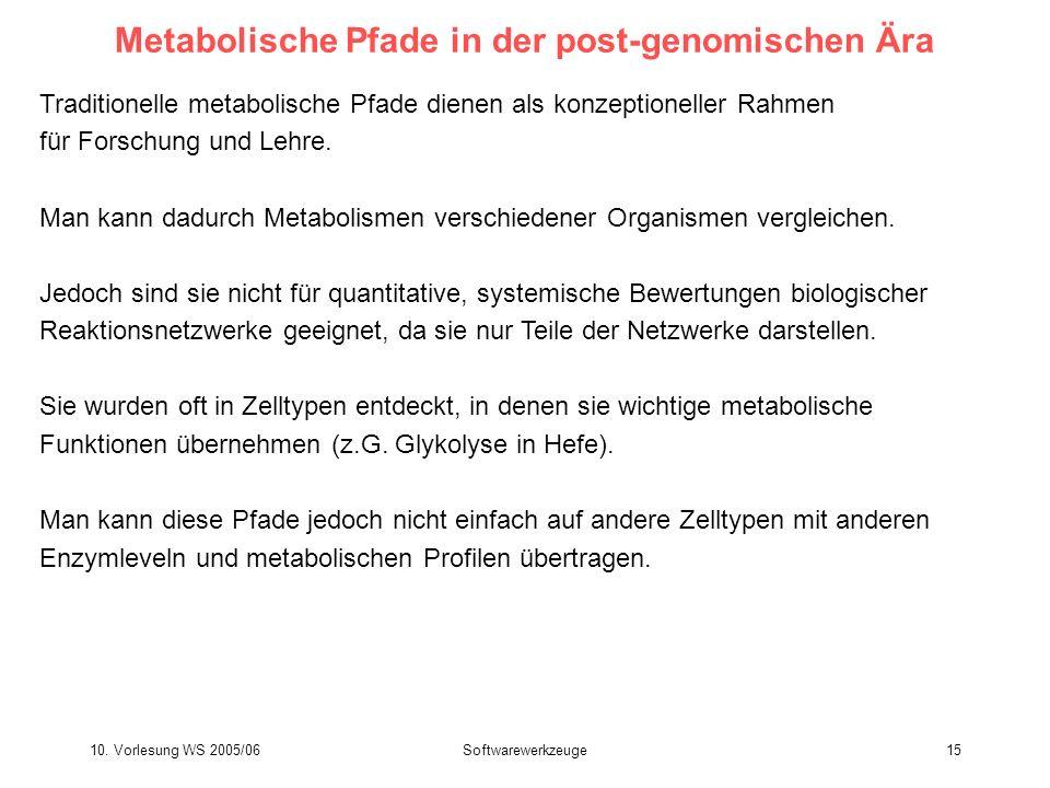 10. Vorlesung WS 2005/06Softwarewerkzeuge15 Metabolische Pfade in der post-genomischen Ära Traditionelle metabolische Pfade dienen als konzeptioneller