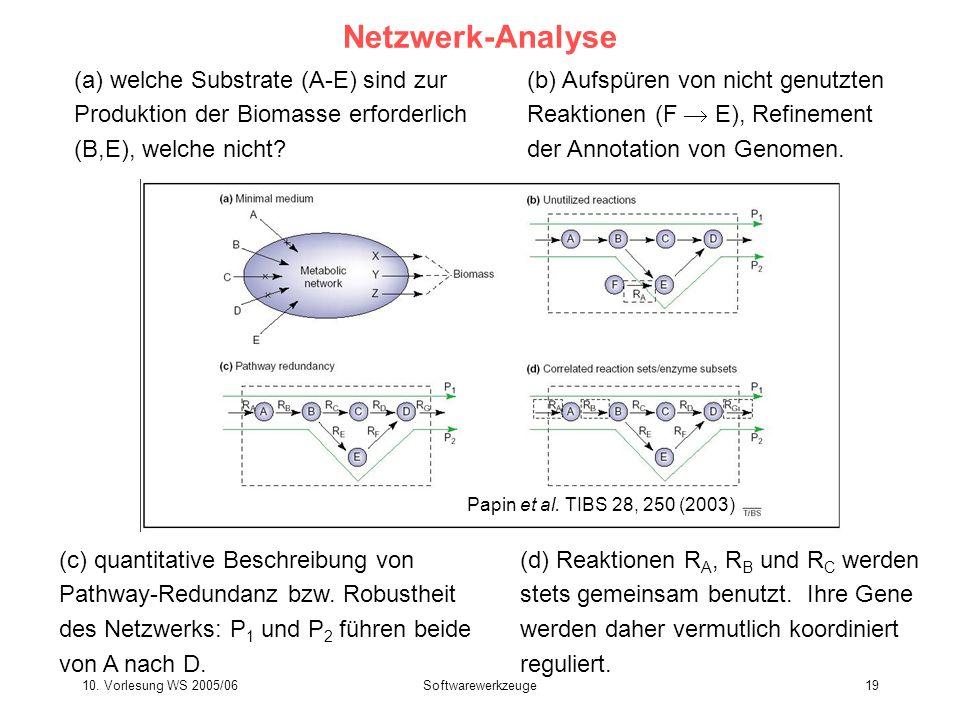 10. Vorlesung WS 2005/06Softwarewerkzeuge19 Netzwerk-Analyse (a) welche Substrate (A-E) sind zur Produktion der Biomasse erforderlich (B,E), welche ni