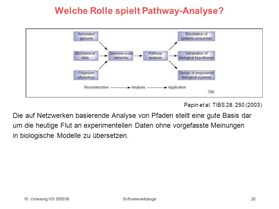 10. Vorlesung WS 2005/06Softwarewerkzeuge20 Welche Rolle spielt Pathway-Analyse? Die auf Netzwerken basierende Analyse von Pfaden stellt eine gute Bas