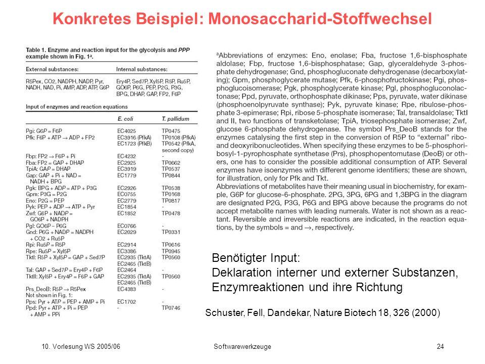 10. Vorlesung WS 2005/06Softwarewerkzeuge24 Konkretes Beispiel: Monosaccharid-Stoffwechsel Benötigter Input: Deklaration interner und externer Substan