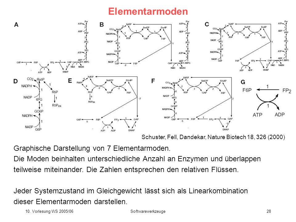 10. Vorlesung WS 2005/06Softwarewerkzeuge28 Elementarmoden Graphische Darstellung von 7 Elementarmoden. Die Moden beinhalten unterschiedliche Anzahl a