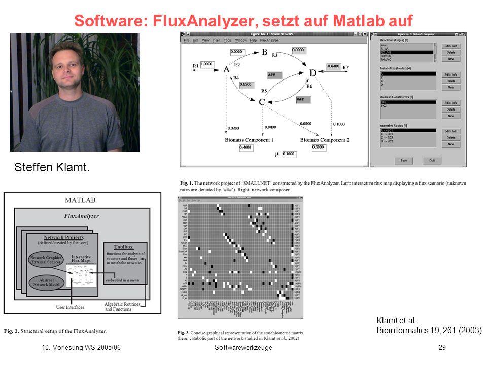 10. Vorlesung WS 2005/06Softwarewerkzeuge29 Software: FluxAnalyzer, setzt auf Matlab auf Steffen Klamt. Klamt et al. Bioinformatics 19, 261 (2003)