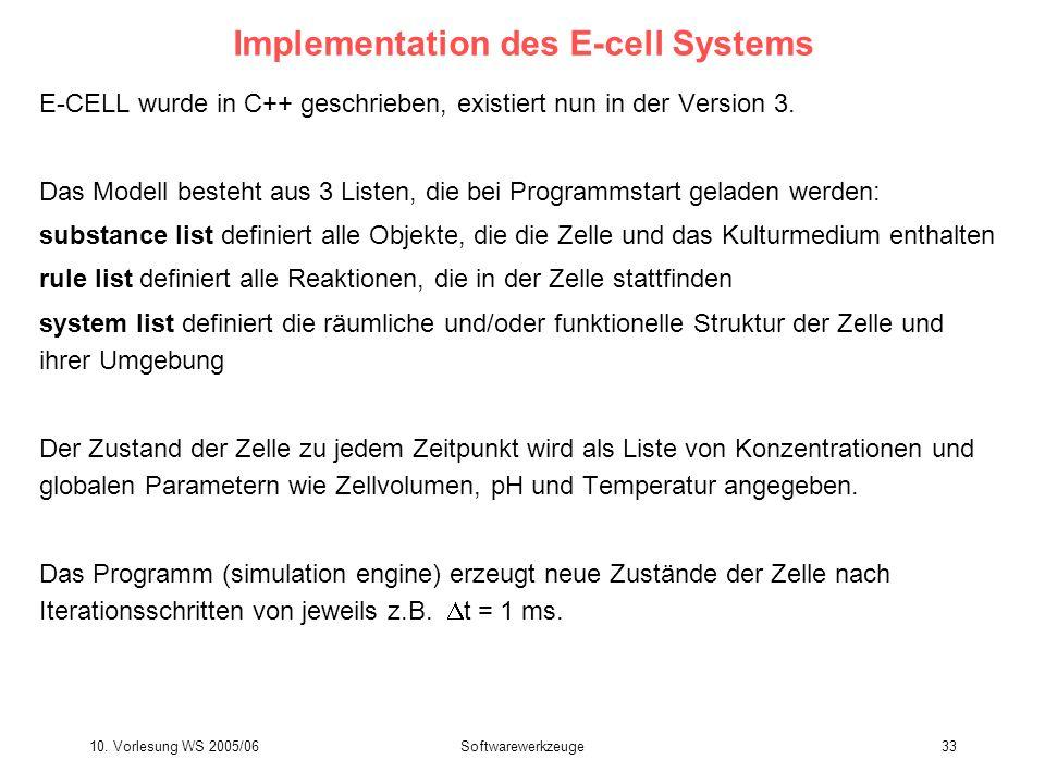 10. Vorlesung WS 2005/06Softwarewerkzeuge33 Implementation des E-cell Systems E-CELL wurde in C++ geschrieben, existiert nun in der Version 3. Das Mod