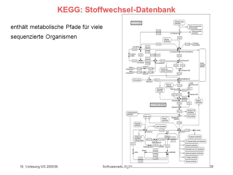 10. Vorlesung WS 2005/06Softwarewerkzeuge39 KEGG: Stoffwechsel-Datenbank enthält metabolische Pfade für viele sequenzierte Organismen