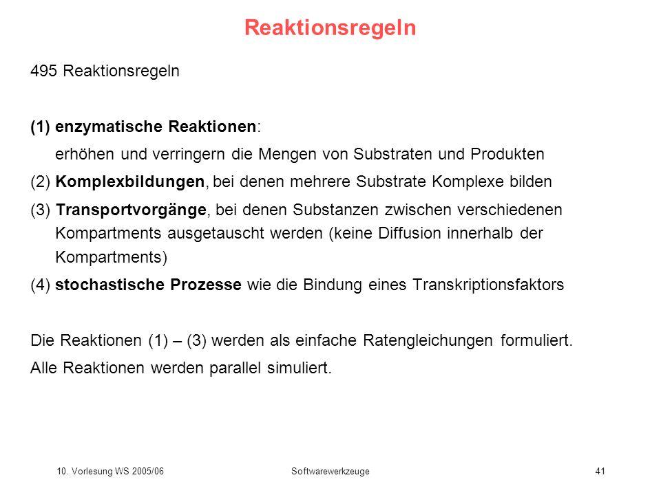 10. Vorlesung WS 2005/06Softwarewerkzeuge41 Reaktionsregeln 495 Reaktionsregeln (1)enzymatische Reaktionen: erhöhen und verringern die Mengen von Subs