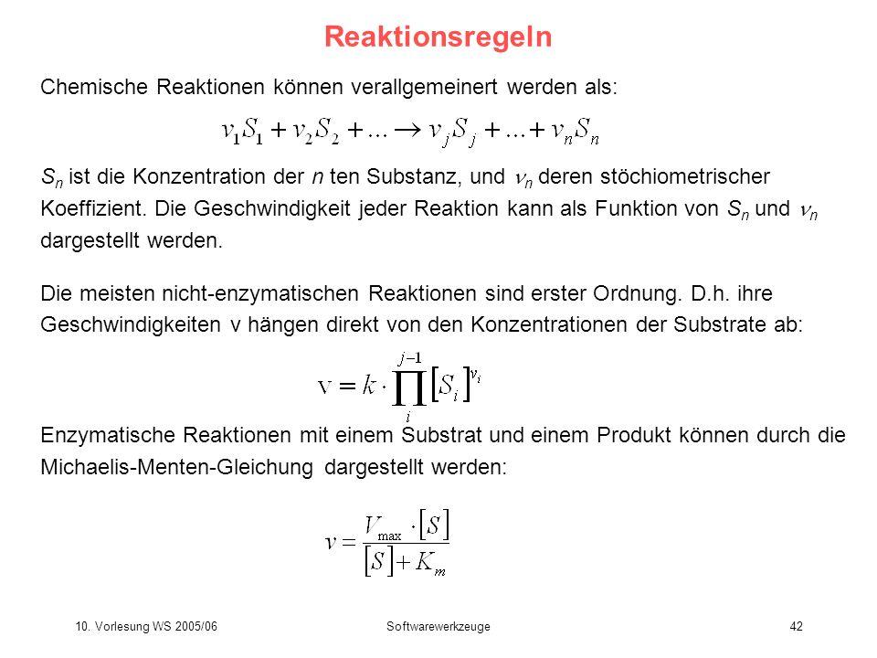 10. Vorlesung WS 2005/06Softwarewerkzeuge42 Reaktionsregeln Chemische Reaktionen können verallgemeinert werden als: S n ist die Konzentration der n te