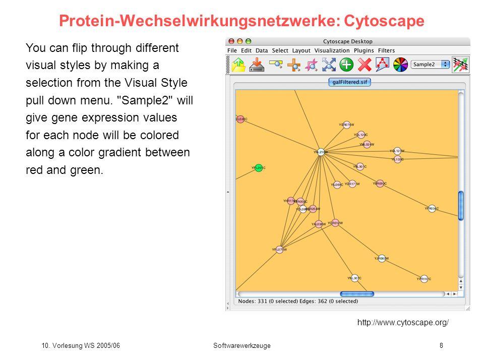 10. Vorlesung WS 2005/06Softwarewerkzeuge8 Protein-Wechselwirkungsnetzwerke: Cytoscape You can flip through different visual styles by making a select