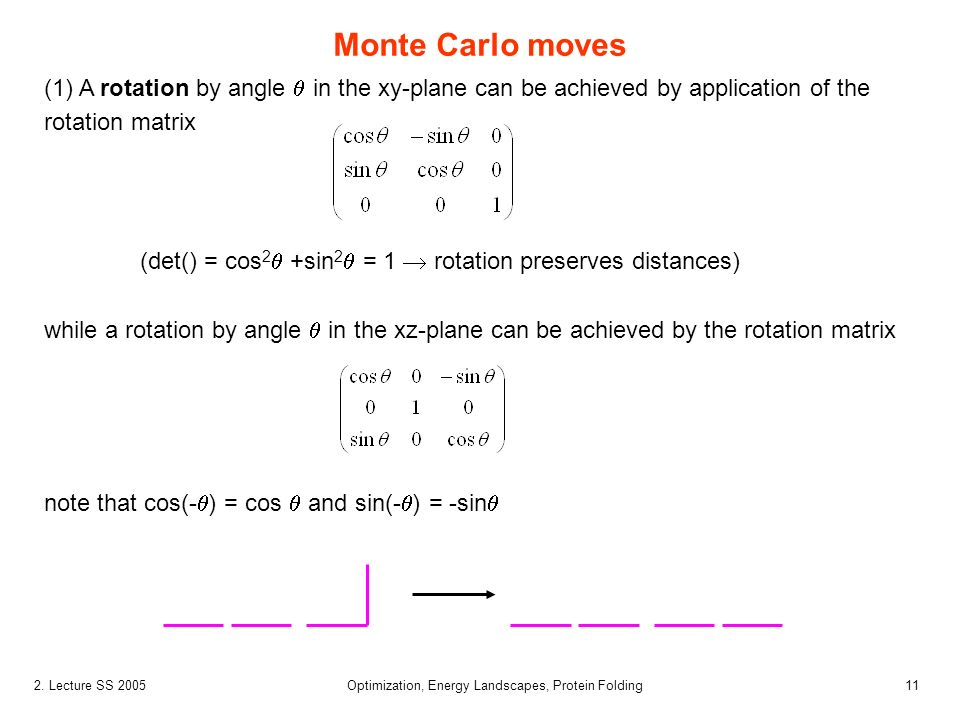 112. Lecture SS 2005 Optimization, Energy Landscapes, Protein Folding Monte Carlo moves (1) A rotation by angle in the xy-plane can be achieved by app