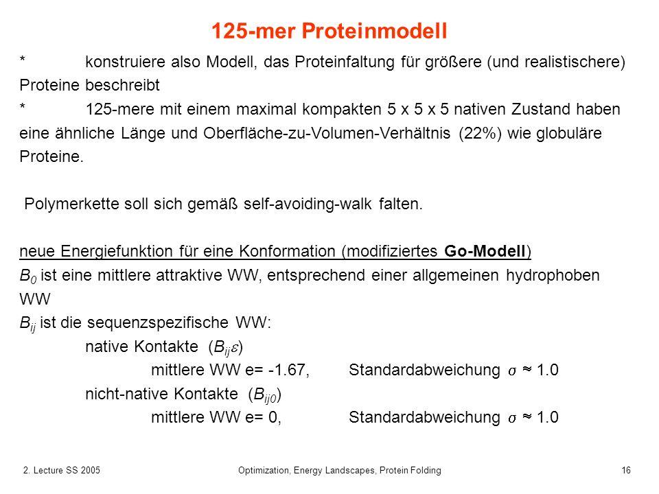 162. Lecture SS 2005 Optimization, Energy Landscapes, Protein Folding *konstruiere also Modell, das Proteinfaltung für größere (und realistischere) Pr