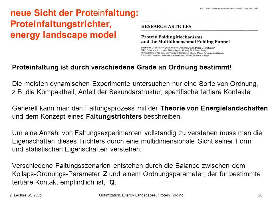 202. Lecture SS 2005 Optimization, Energy Landscapes, Protein Folding Proteinfaltung ist durch verschiedene Grade an Ordnung bestimmt! Die meisten dyn