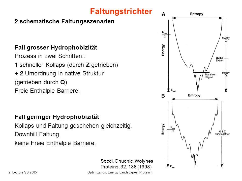 242. Lecture SS 2005 Optimization, Energy Landscapes, Protein Folding 2 schematische Faltungsszenarien Fall grosser Hydrophobizität Prozess in zwei Sc