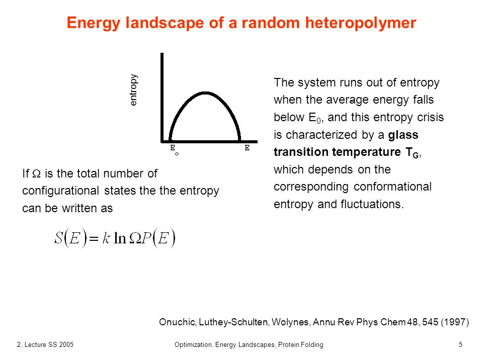52. Lecture SS 2005 Optimization, Energy Landscapes, Protein Folding Energy landscape of a random heteropolymer Onuchic, Luthey-Schulten, Wolynes, Ann