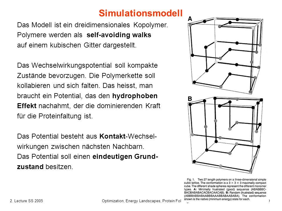 92. Lecture SS 2005 Optimization, Energy Landscapes, Protein Folding Das Modell ist ein dreidimensionales Kopolymer. Polymere werden als self-avoiding