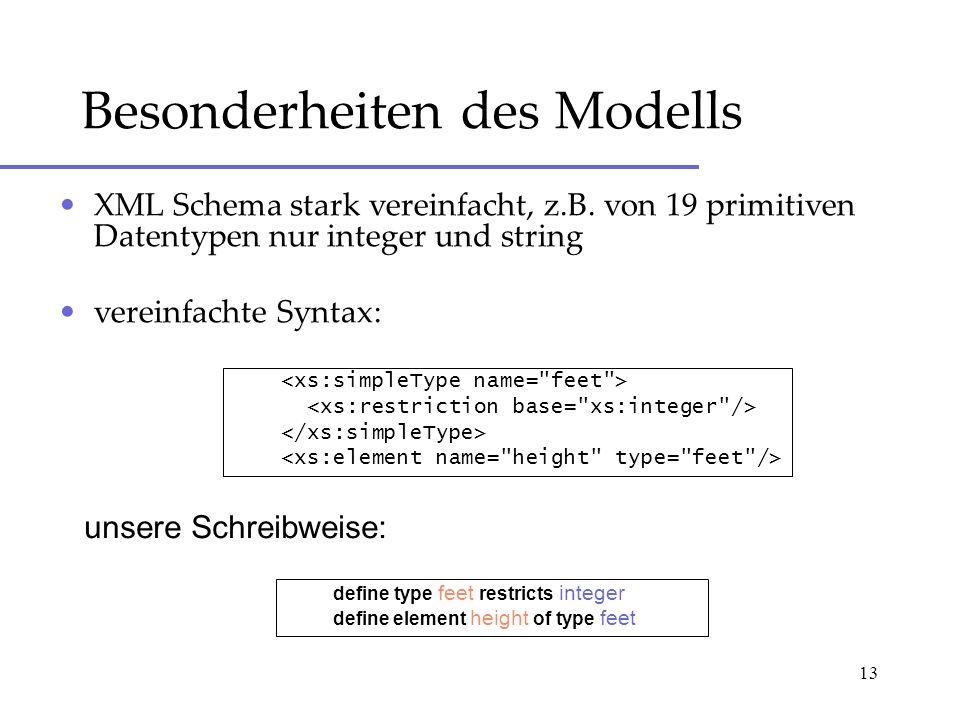 13 Besonderheiten des Modells XML Schema stark vereinfacht, z.B. von 19 primitiven Datentypen nur integer und string vereinfachte Syntax: define type