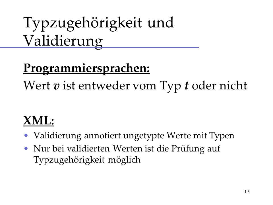 15 Typzugehörigkeit und Validierung Programmiersprachen: Wert v ist entweder vom Typ t oder nicht XML: Validierung annotiert ungetypte Werte mit Typen