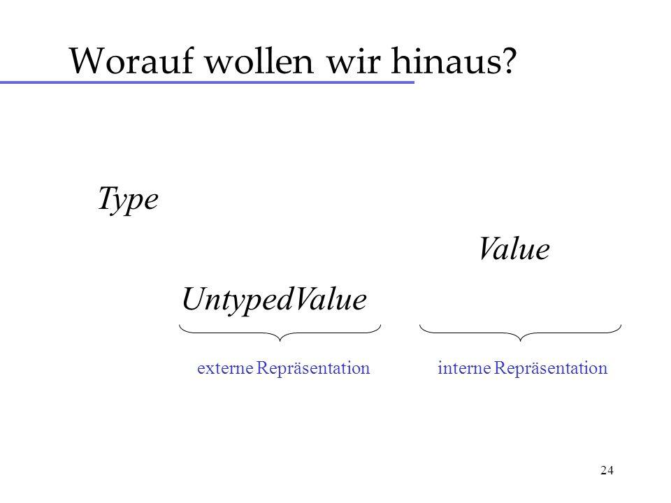 24 Worauf wollen wir hinaus Type UntypedValue Value interne Repräsentationexterne Repräsentation