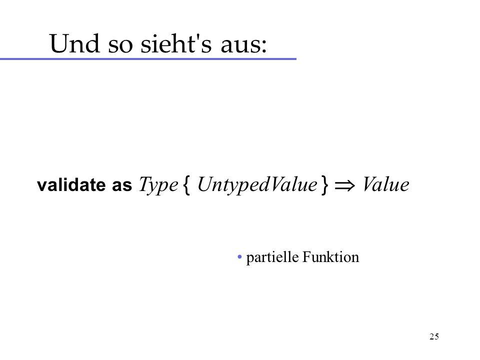 25 Und so sieht s aus: validate as Type { UntypedValue } Value partielle Funktion