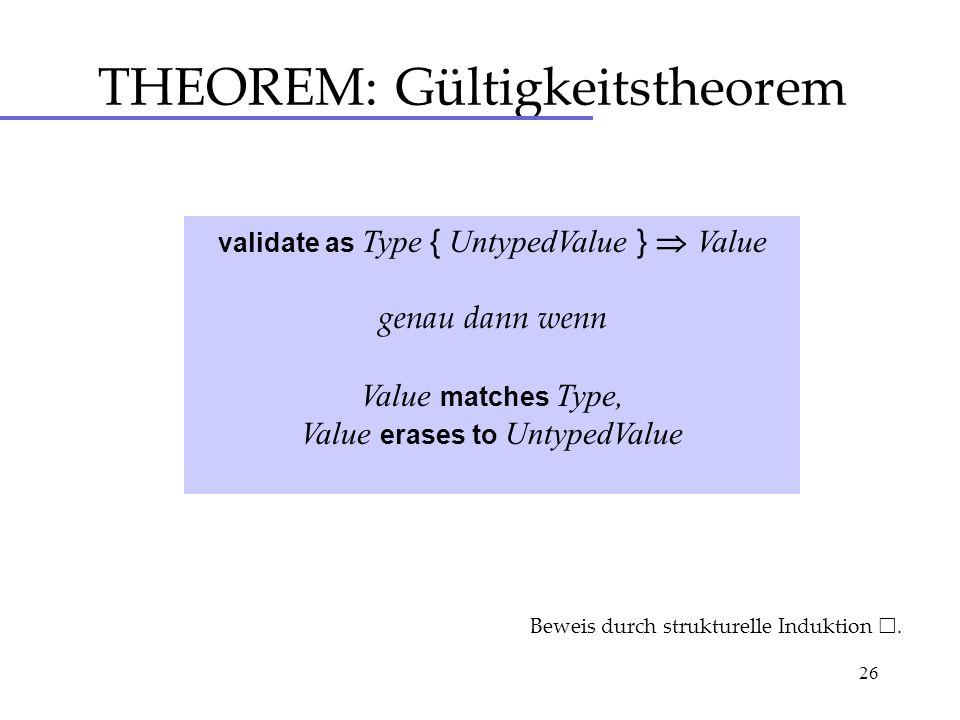 26 THEOREM: Gültigkeitstheorem validate as Type { UntypedValue } Value genau dann wenn Value matches Type, Value erases to UntypedValue Beweis durch strukturelle Induktion.